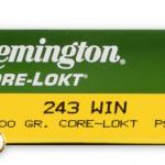 Remington Core-Lokt 243 Winchester Ammunition Ballistics